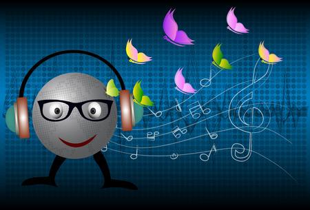 vector musical globe with speaker Illustration