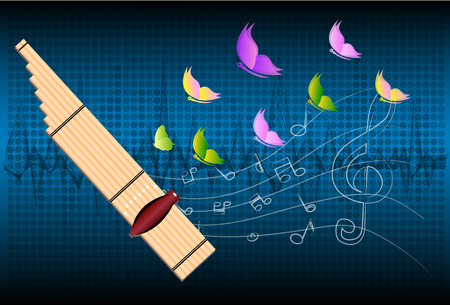 instrument practice: Thai musical instruments called CAN,Kh an,kind of reed mouth organ in northeastern Thailand, illustration Illustration