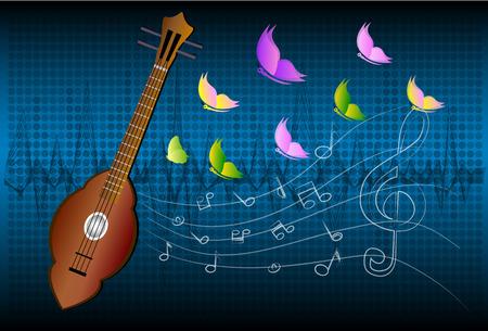 country music: Stile folk thailandese chitarra di legno dello strumento musicale Paese Thai