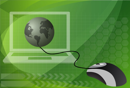 surfing the net: Computer mouse connected to a globe