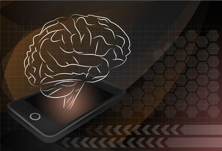 mobile phone with brain, For education and technology concept.