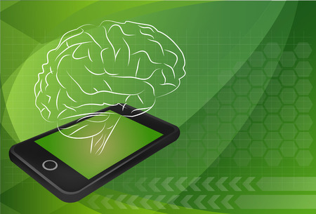 discovering: mobile phone with brain, For education and technology concept.