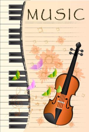 예행 연습: illustration of violin on colorful abstract grungy background