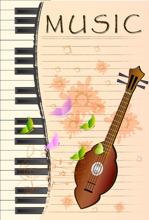 thai style: Thai folk style wooden guitar the Thai country music instrument Illustration