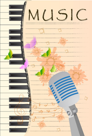 teclado de piano: Fondo abstracto de la música grunge con el micrófono retro