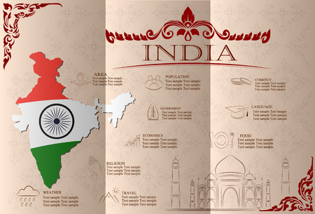 India infographics, statistical data, sights. Vector illustration.