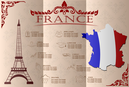 frenchman: France infographics, statistical data, sights. Vector illustration. Illustration