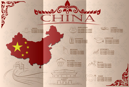 China infographics, statistical data, sights. Vector illustration