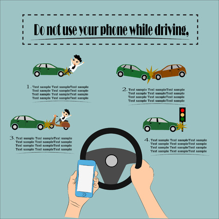 car driver: Danger, Do not use your phone while driving, Illustration vector design.