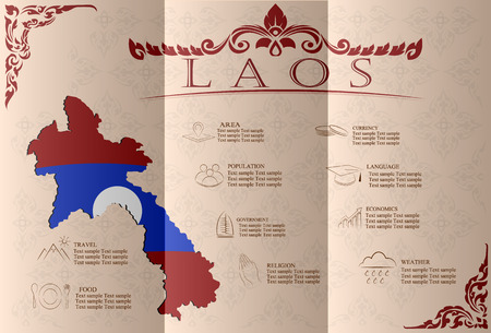 statistical: Laos infographics, statistical data, sights. Vector illustration.