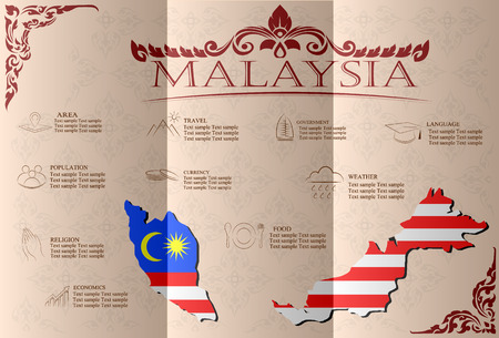Malaysia infographics, statistical data, sights. Vector illustration Illustration