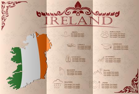 ireland cities: Ireland infographics, statistical data, sights. Vector illustration