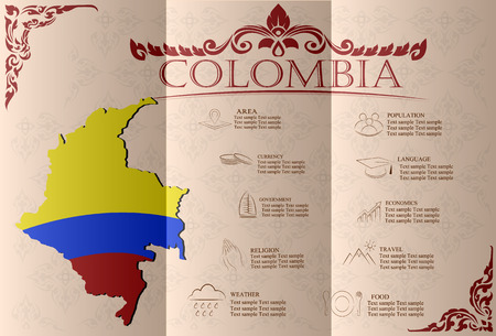 colombian: Colombia infographics, statistical data, sights. Vector illustration Illustration