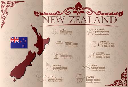 new zealand landscape: New Zealand infographics, statistical data, sights. Vector illustration