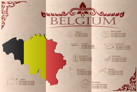 sights: Belgium infographics, statistical data, sights. Vector illustration
