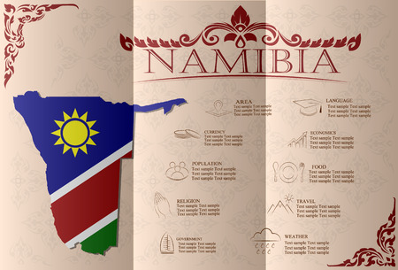 statistical: namibia infographics, statistical data, sights. Vector illustration