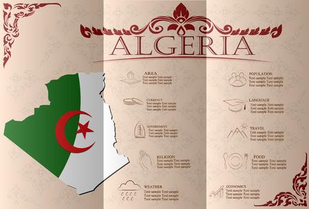 sights: Algeria  infographics, statistical data, sights. Vector illustration Illustration