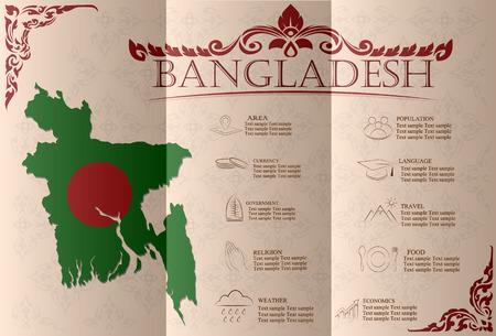 Bangladesh  infographics, statistical data, sights. Vector illustration