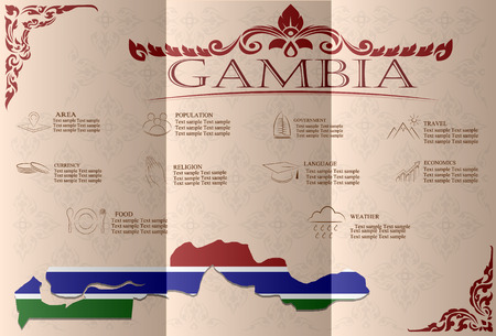 Gambia  infographics, statistical data, sights. Vector illustration