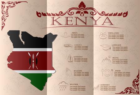sights: Kenya infographics, statistical data, sights. Vector illustration