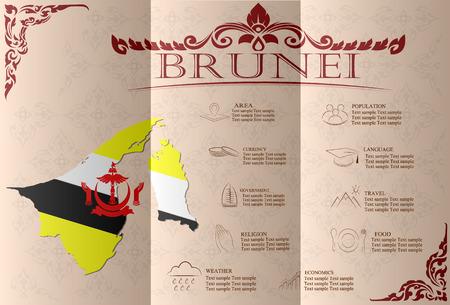 statistical: Brunei infographics, statistical data, sights. Vector illustration Illustration