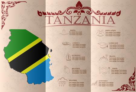 sights: Tanzania infographics, statistical data, sights. Vector illustration