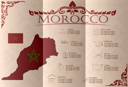 statistical: morocco infographics, statistical data, sights. Vector illustration
