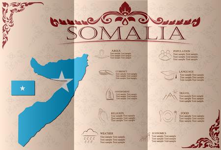 statistical: Somalia, infographics, statistical data, sights. Vector illustration