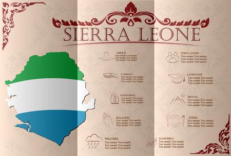 leone: Sierra Leone, infographics, statistical data, sights. Vector illustration Illustration