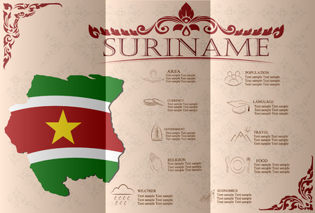 suriname: Suriname ,infographics, statistical data, sights. Vector illustration