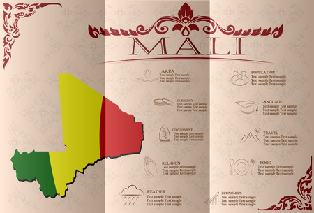 mali: Mali, infographics, statistical data, sights. Vector illustration