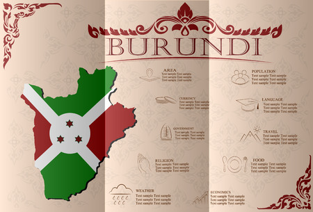 sights: Burundi, infographics, statistical data, sights. Vector illustration