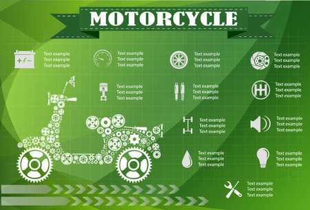 main part: motorcycle part information. Vector illustration