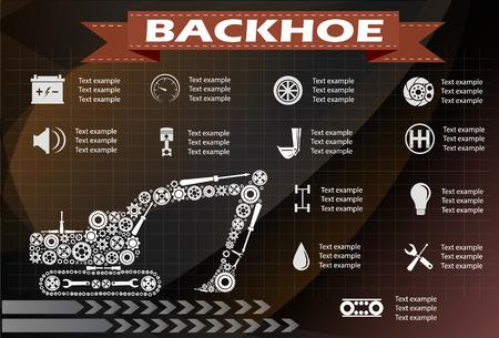 circuit brake: Backhoe service, repair Infographics. vector illustration