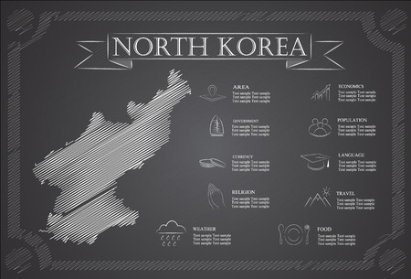 communistic: Infograf�a Corea del Norte, datos estad�sticos, lugares de inter�s Vectores