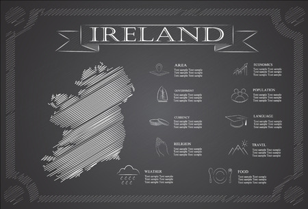 irish cities: Ireland infographics, statistical data, sights. Illustration