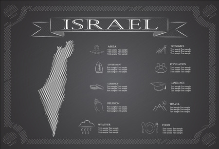 jews: Israel infographics, statistical data, sights. Illustration