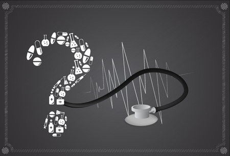 A question mark made of pills.
