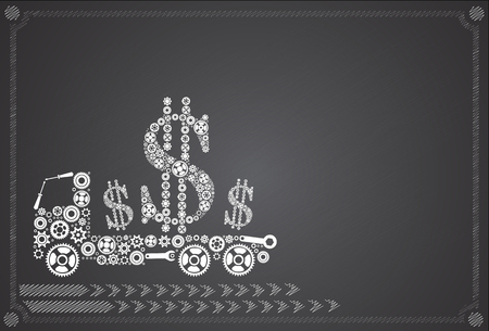 carries: illustration of truck full of money over machine carries Dollar Illustration