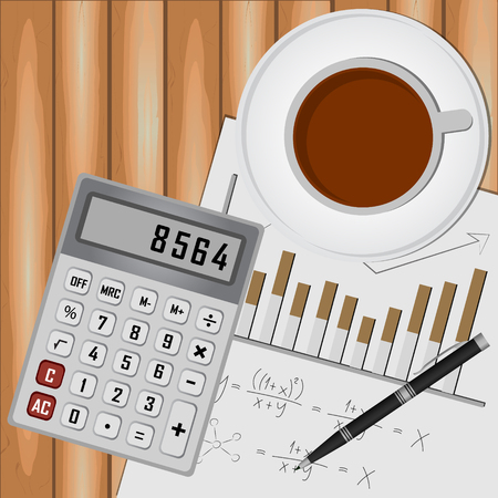 vista desde arriba: Coffee cup, and calculator over papers with numbers and charts. View from above. Vectores