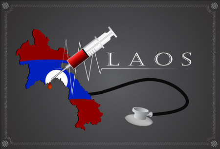 laos: Map of Laos with Stethoscope and syringe.
