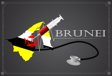 map of brunei: Map of  Brunei with Stethoscope and syringe. Illustration
