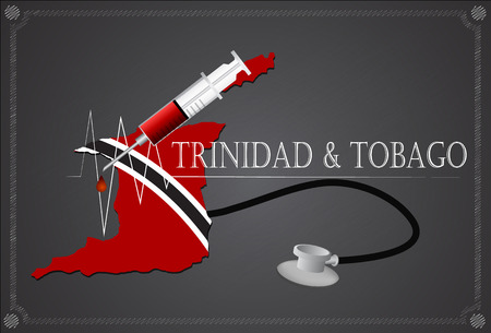 trinidad and tobago: Map of Trinidad & Tobago with Stethoscope and syringe.