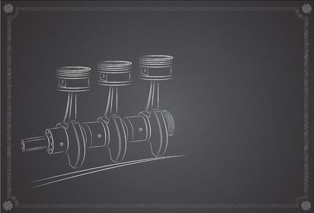 Piston Engine. Hand Drawn, sur un tableau noir de fond.