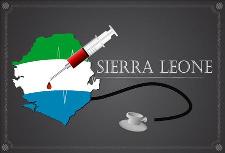 leone: Map of Sierra leone with Stethoscope and syringe. Illustration