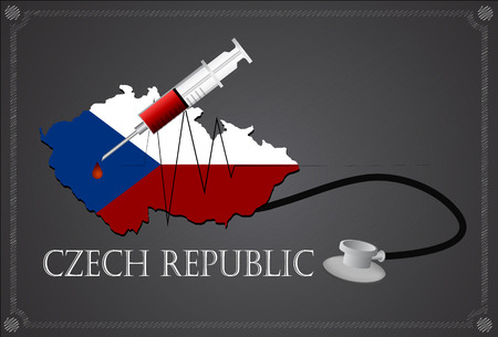 the czech republic: Map of Czech republic with Stethoscope and syringe.