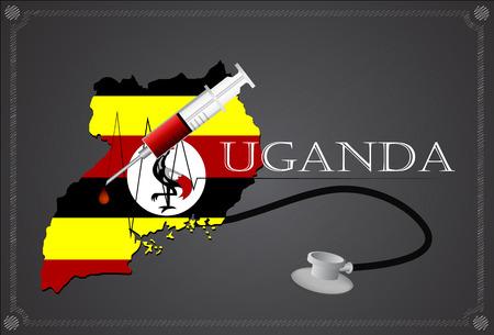 uganda: Map of Uganda with Stethoscope and syringe.