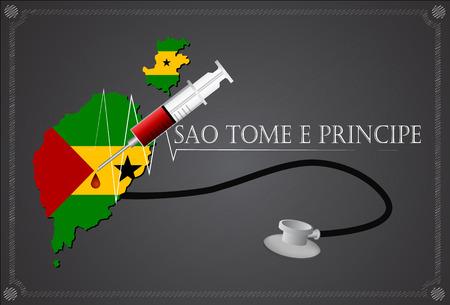 tome: Map of Sao Tome e Principe with Stethoscope and syringe.