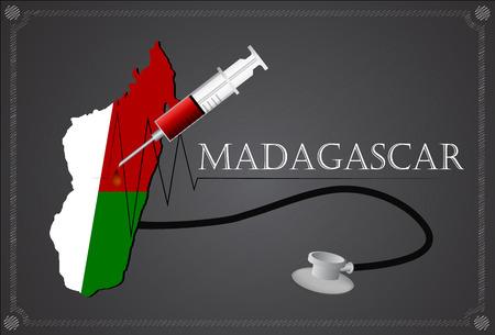 madagascar: Map of Madagascar with Stethoscope and syringe. Illustration