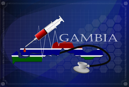 gambia: Map of Gambia with Stethoscope and syringe. Illustration